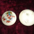 VINTAGE TWO PIECE FLORAL TRINKET BOX....MADE IN JAPAN...TAKAHASKI...