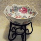 ASIAN SCALLOPED FLORAL BOWL-MIXED COLORS ON WHITE ON METALLIC STAND