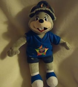 "13"" COLLECTIBLE CHUCK E CHEESE PLUSH DOLL.. DENIM SHORTS & HAT..VERY RARE..CUTE!"