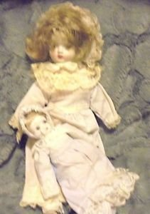 "SET OF 2 VINTAGE CHINA HEAD, HANDS & FEET..STUFFED BODY DOLLS-13"" & 8""....B-99"