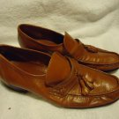 "NICE MEN'S SIZE 7 1/2 BROWN/ TASSEL LEATHER MEN'S SHOES...""GOLD V"" ON HEEL"