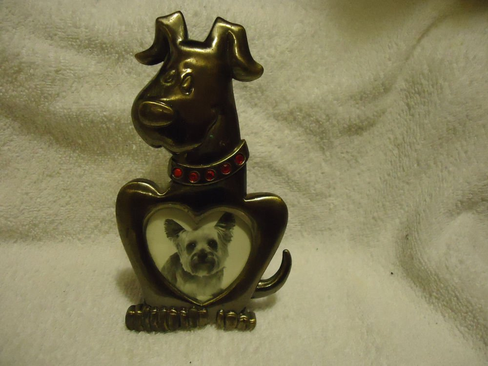 "METAL DOG SHAPED PICTURE FRAME BY GREEN TREE ...SIZE APPROX 5 1/2"" X 3"""