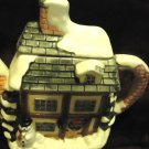 """CHRISTMAS CERAMIC HANDPAINTED HOUSE/COTTAGE TEAPOT-..8 1/2"""" WIDE..7"""" TALL"""