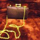 "SMALL BURGUNDY MIZTIQUE HANDBAG  WITH LONG SHOULDER CHAIN..APPROX 7"" X 5""..ROOMY"