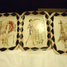 VINTAGE 3 PC SET OF PAINTED WALL PLAQUES-PINK/BLACK TRIM.NEW YORK, PARIS, LONDON