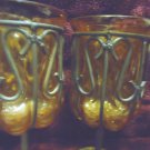 "TWO VINTAGE GOBLETS...AMBER COLORED ENCASED IN METAL..7 3/4"" TALL..HEAVY"