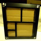 PAW PRINTS ON BLACK HARD PLASTIC PICTURE FRAME FOR YOUR DOG...OVERAL SIZE  8 X 9