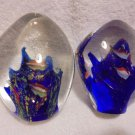 "2 GLASS PAPERWEIGHTS-FISH.... BRIGHT AND COLORFUL.APPROX 4 1/4"" TALL..NICE"