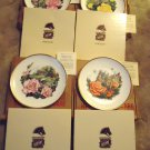 SET OF 4 BOEHM PORCELAIN PLATES GOLD RIMS ENGLAND 10 1/2''..PATTERNS LISTED