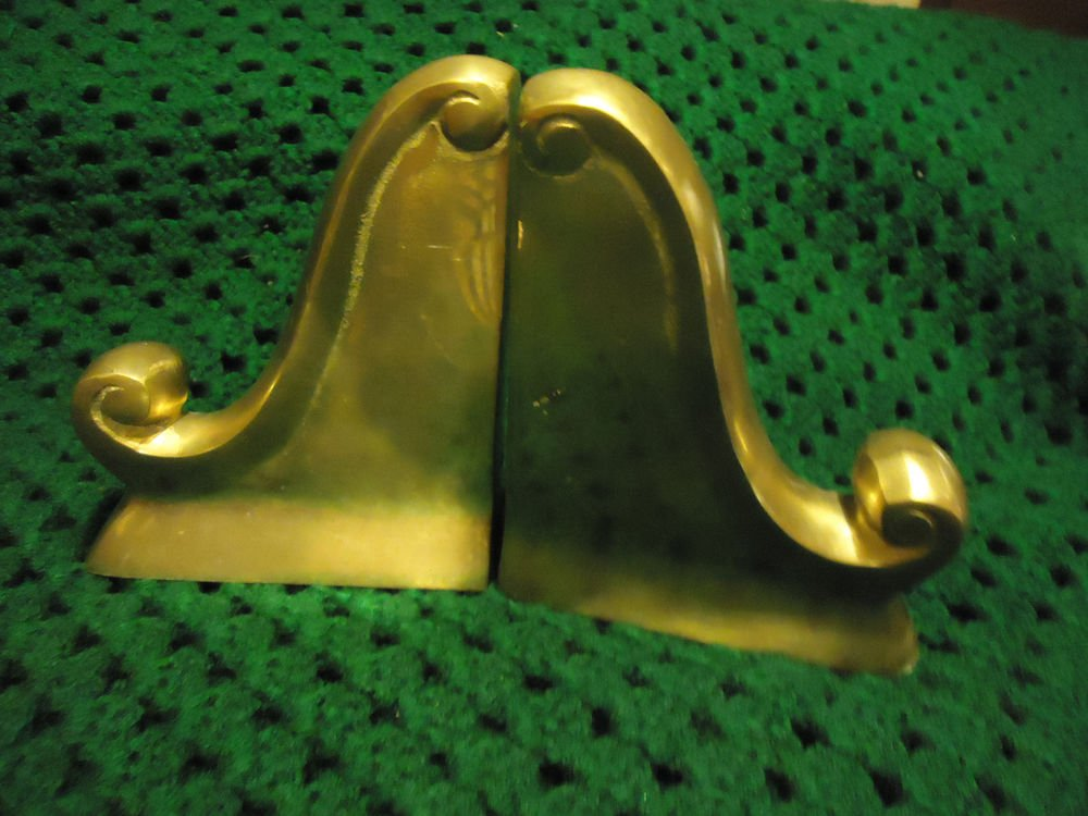 "VINTAGE PAIR BRASS BOOKENDS HOLLOW DECOR ORNATE CAST....APPROX 5 1/2"" TALL"