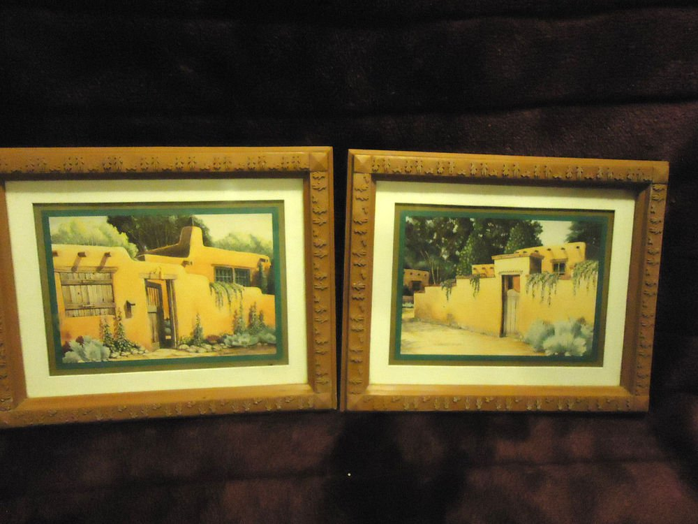 """SET OF TWO WALL PICTURES OF ADOBE HOUSES BY K. BRUEGGEMANN..8"""" X 10"""""""