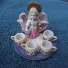 BEAUTIFUL & DELICATE ANGEL/4 CUPS/TRAY MINATURE TEA SET.. SO DIFFERENT & UNIQUE
