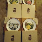 BOEHM PORCELAIN PLATES(SET OF 4) GOLD RIMS ENGLAND 10 1/2''..PATTERNS LISTED