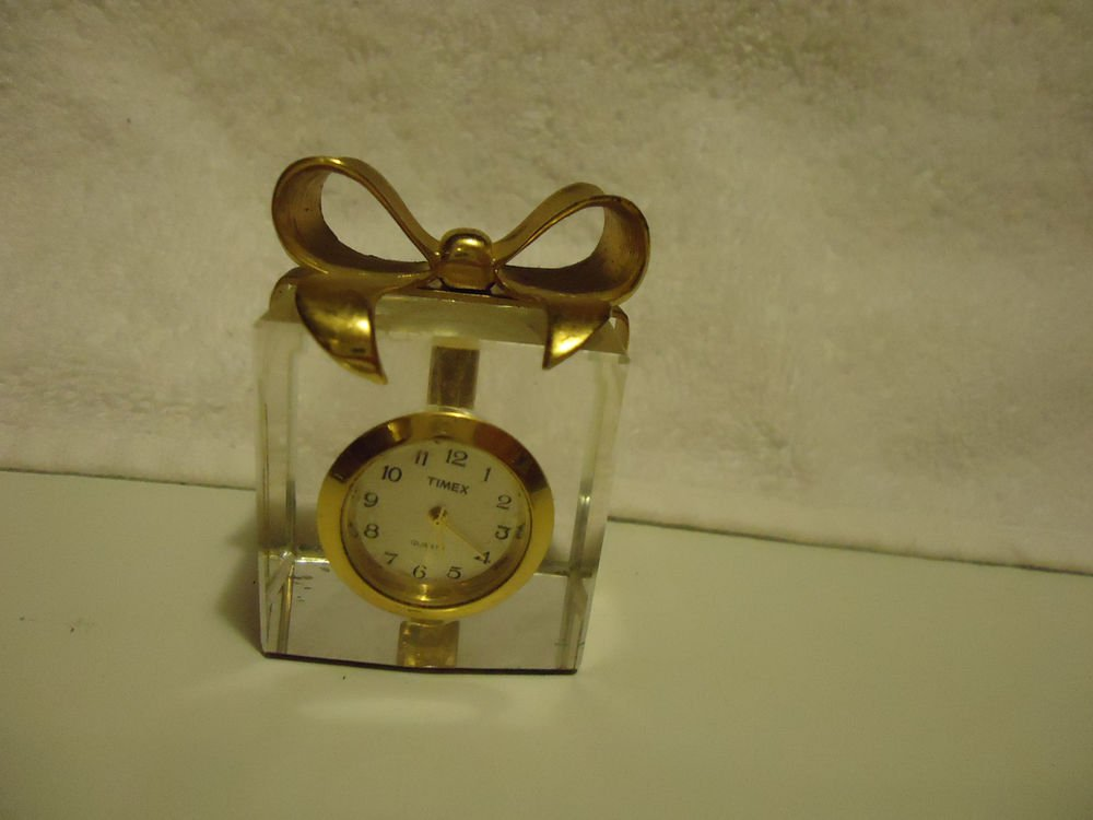 "MINATURE TIMEX GIFT BOX CRYSTAL BASKET CLOCK...2 1/4"" TALL..."