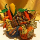 VINTAGEFOLK ART HANDMADE FABRIC ROOSTER  & HEN IN BASKET/ 4 PIECES FABRIC FRUIT