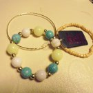 SET OF 3 BRACELETS....HAVE A LOOK...AVAILABLE IN PINK/GREEN OR GR/YELLOW/WHITE