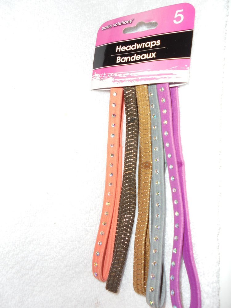 NEW IN PACKAGE 5 HAIR WRAPS/HAIR STYLING HOLDERS PK, WHITE, PUR, BLACK & WHITE..