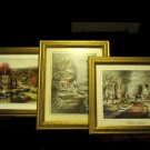 "SET OF THREE WALL PICTURES OF OLD HOMES/HOUSES.. VICTORIAN....9 1/2"" X 11 1/2"""
