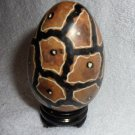 "BLACK & BROWN STONE PAINTED EGG SHAPED  EGG WITH STAND...3"" TALL"