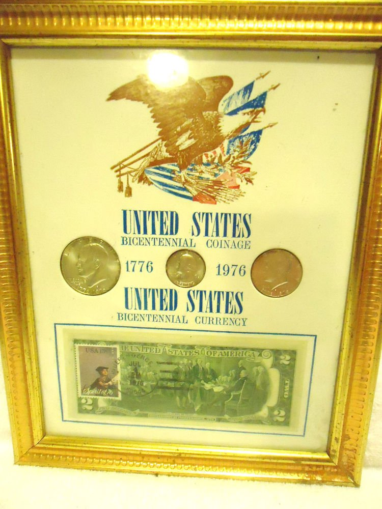 NICE U.S. BIECENTENNIAL COINAGE AND CURRENCY - ALSO POSTMARKED BILL...FRAMED