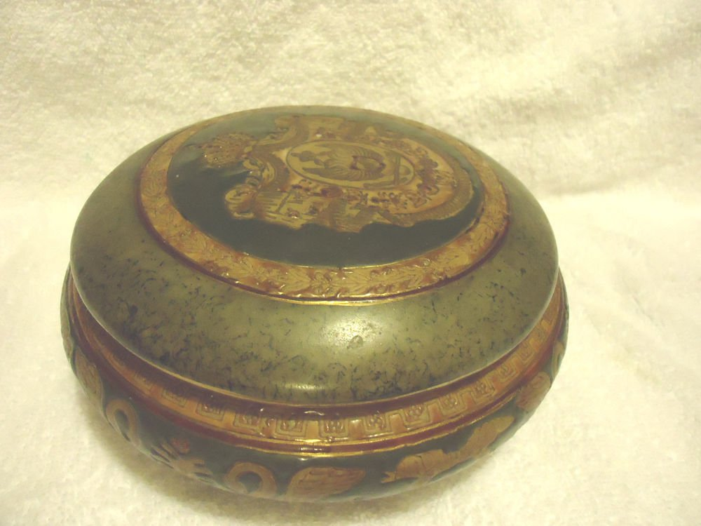 VINTAGE CHINESE ORIENTAL ACCENT/TRINKET BOX WITH LID...GREEN/GOLD LARGE...
