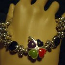 SILVER TONE CLOVER CHARM BRACELET...BLACK & RED STONES..COLORFUL & COMFORTABLE