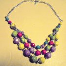 "THREE ROWS MULTI COLOR DECORATIVE  LADIES NECKLACE...APP 18""...HAS EXTENDER.."