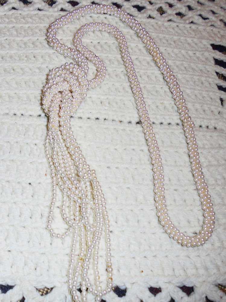LONG TIGHT WOVEN SEED PEARL CLUSTER BEAD NECKLACE UNMARKED **ESTATE SALE FIND