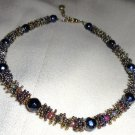 "VINTAGE MULTI COLORED BEADED CHOKER STYLE NECKLACE-DETAILED.13"" LONG PLUS CHAIN"