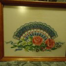 "FRAMED COMPLETE CROSS STITCH OF BEAUTIFUL FAN & PINK ROSES ON WHITE...12"" X 15"""