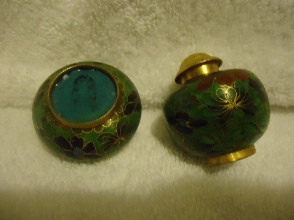 VINTAGE CLOISONNE ENAMEL ON BRASS FLORA LOPEN SALT & PEPPER SET...NICE