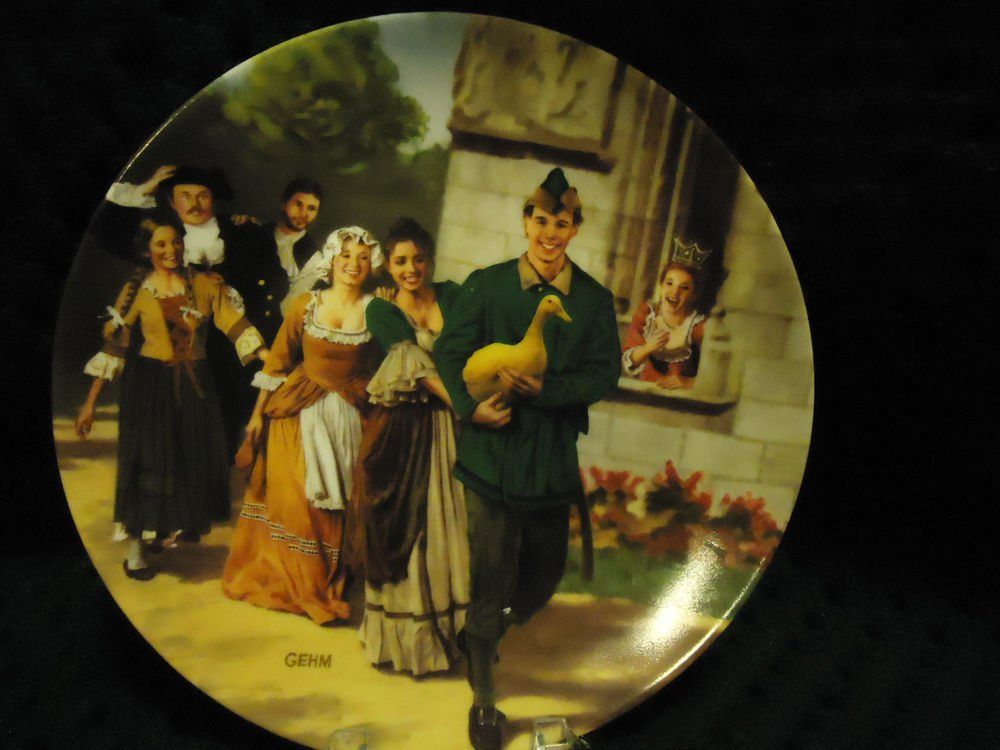 "1984 GRIMMS FAIRY TALES ""THE GOLDEN GOOSE"" GERMAN COLLECTOR PLATE/5TH/BOX/COA"