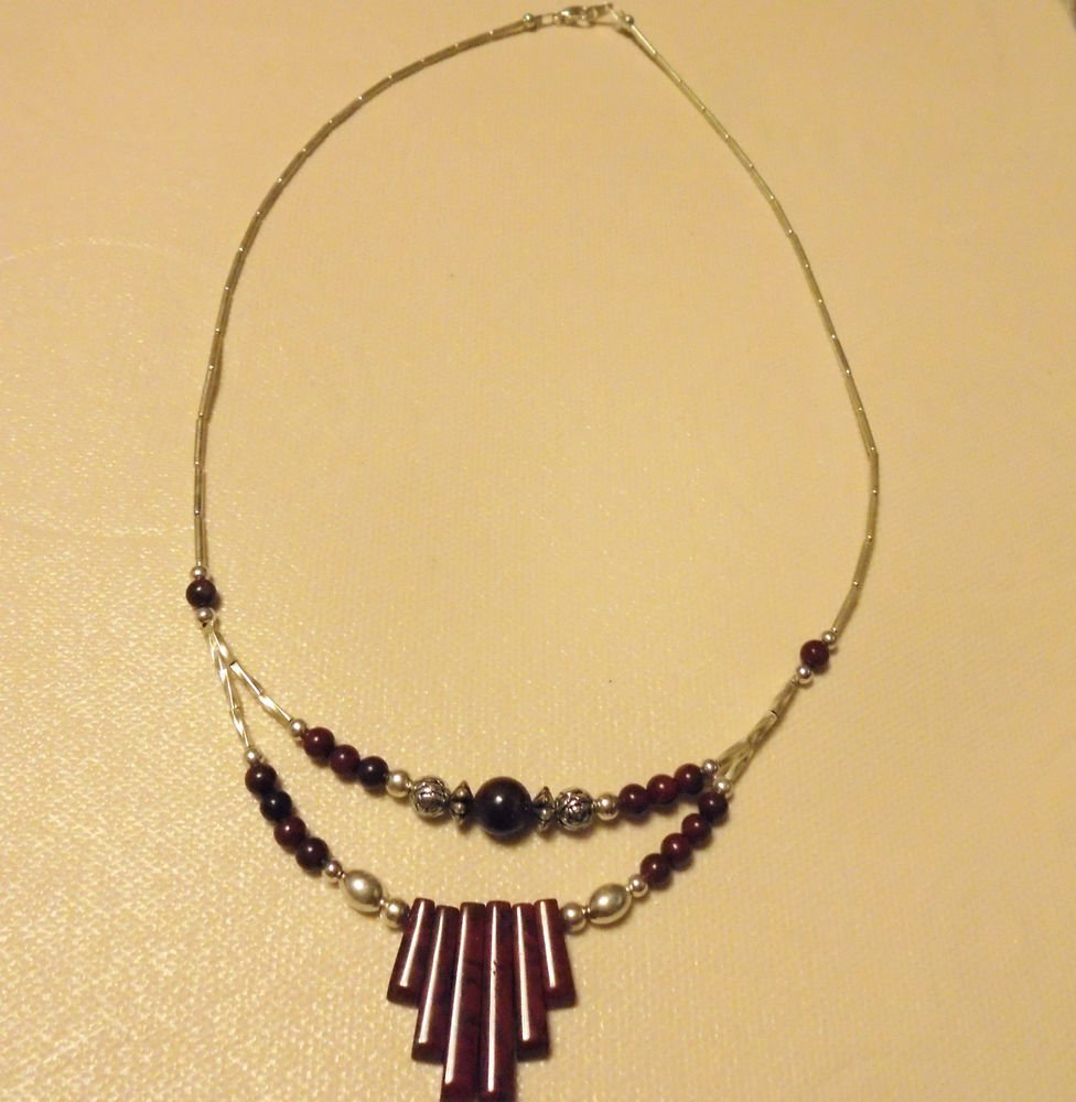 "LADIES DOUBLE STRAND BEADED NECKLACE...APP 19""...SILVER & BROWNTONE BEADS..."