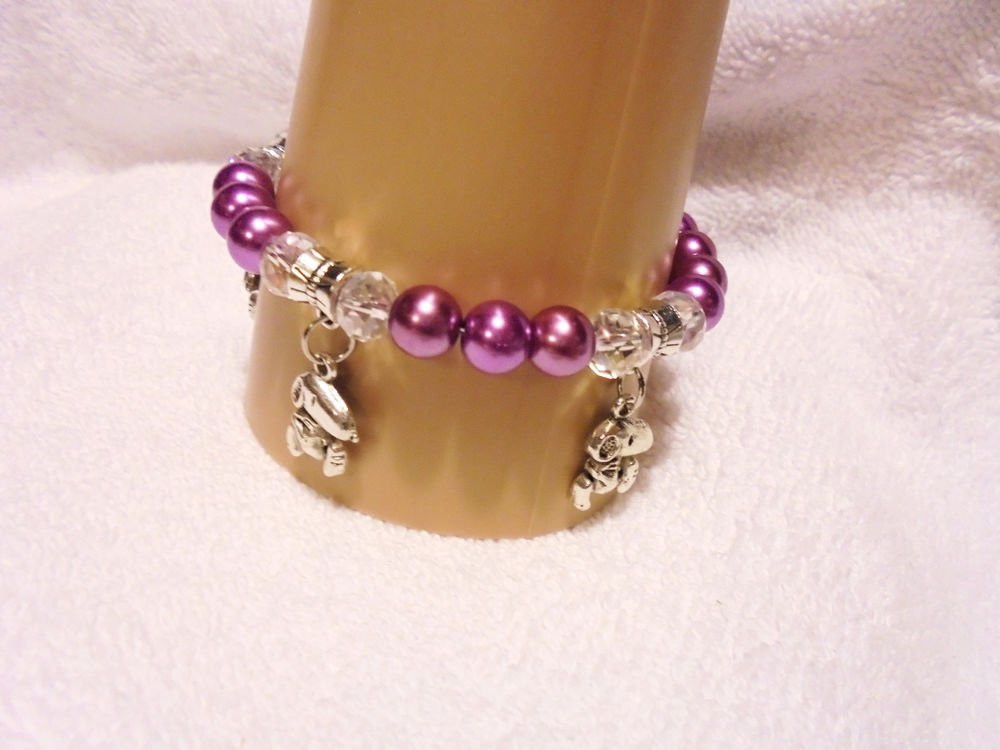 DEEP PURPLE  PEARL/CRYSTALS CHARM BRACELET WITH  3  SNOOPY CHARMS-EXPANDABLE