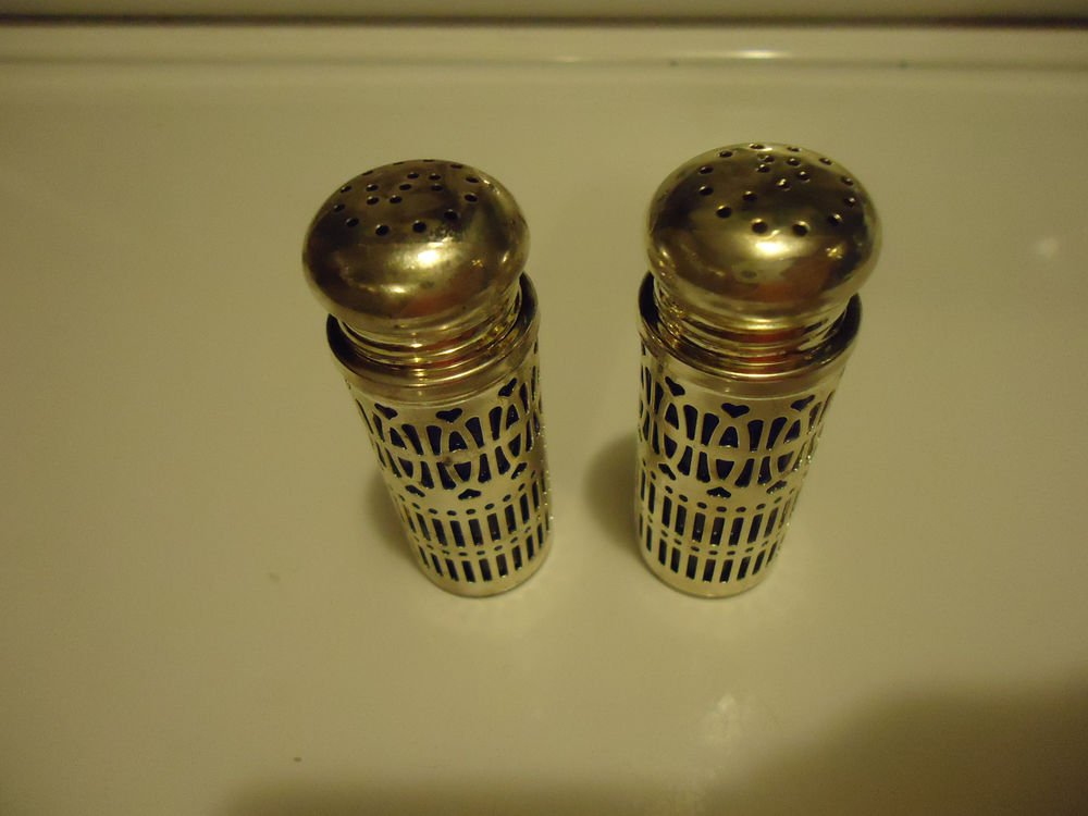 VINTAGE SILVER PLATE & BLUE GLASS  SMALL SALT AND PEPPER SHAKERS