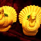 VINTAGE PAIR OF TERRA COTTA TURKEY CANDLEHOLDERS - FOR THE FALL SEASON