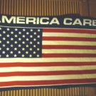 "PLUSH ""AMERICA CARES"" BLANKET.. FLAG RED, WHITE & BLUE...54"" X 34""...NICE."