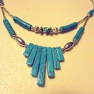 "SILVERTONE & BLUE BEADED LADIES DOUBLE STRAND NECKLACE...APP 19""..LIGHTWEIGHT"