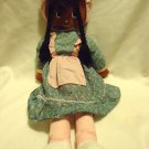 "DETAILED 29"" RAG DOLL WITH BRAIDED BROWN HAIR, BONNET DRESS WITH APRON"