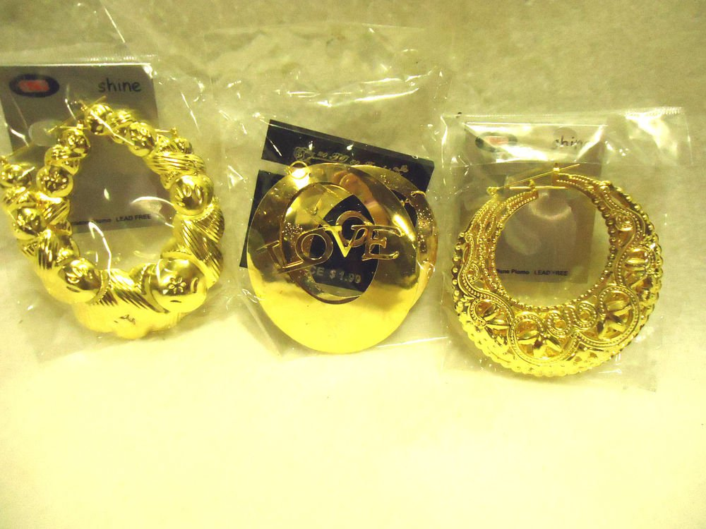 SET OF 3 LARGE GOLDTONE HOOP EARRINGS-LOVE/SCROLLED.....SO BRIGHT & CHEERY
