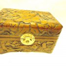 VINTAGE SMALL WOODEN HAND CARVED TRINKET/JEWELRY BOX..BIRDS/FLOWERS...NICE