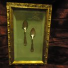 VINTAGE/ANTIQUE MONAGRAMED SPOONS IN FRAMED SHADOW...ESTATE SALE FIND!!!!!!!!