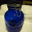 "EXTRA LARGE COBALT BLUE GLASS JAR WITH WIRE LID......10 1/2"" TALL...NICE DESIGNS"