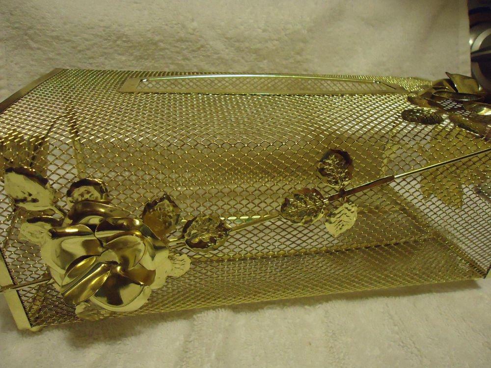 ORNATE GOLD TONE KLEENEX TISSUE BOX COVER HOLDER METAL FILAGREE ROSES