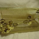 ORNATE GOLD TONE KLEENEX TISSUE BOX COVER HOLDER METAL FILAGREE ROSES