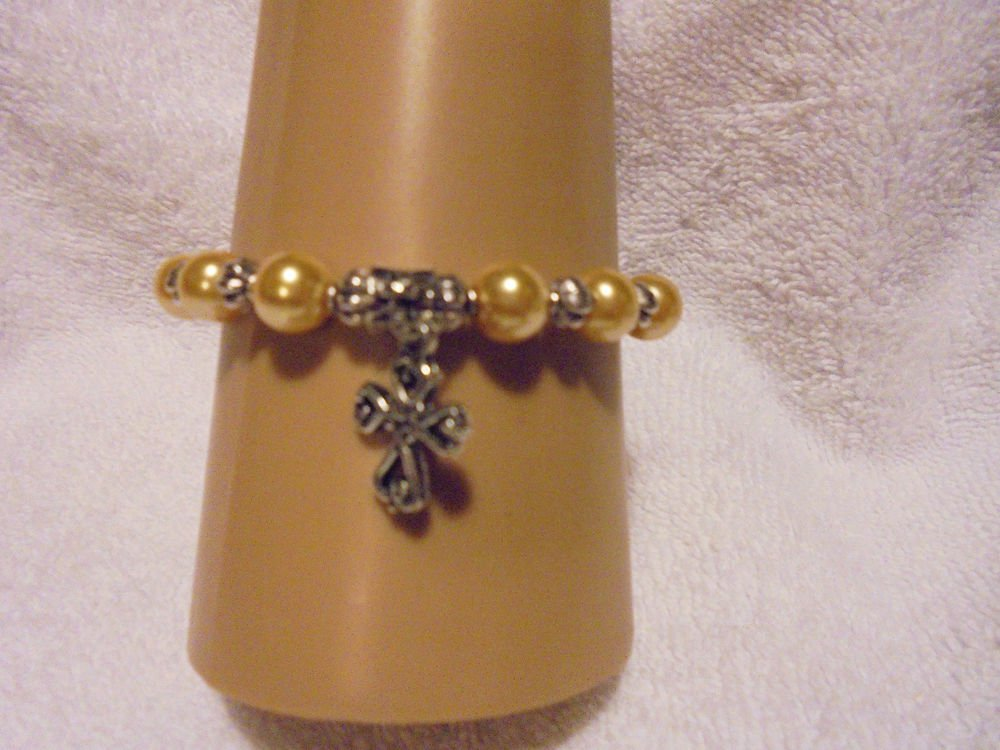 SUNNY YELLOW PEARL BRACELET WITH COMFORT CROSS CHARM & SILVER SPACERS-EXPANDABLE