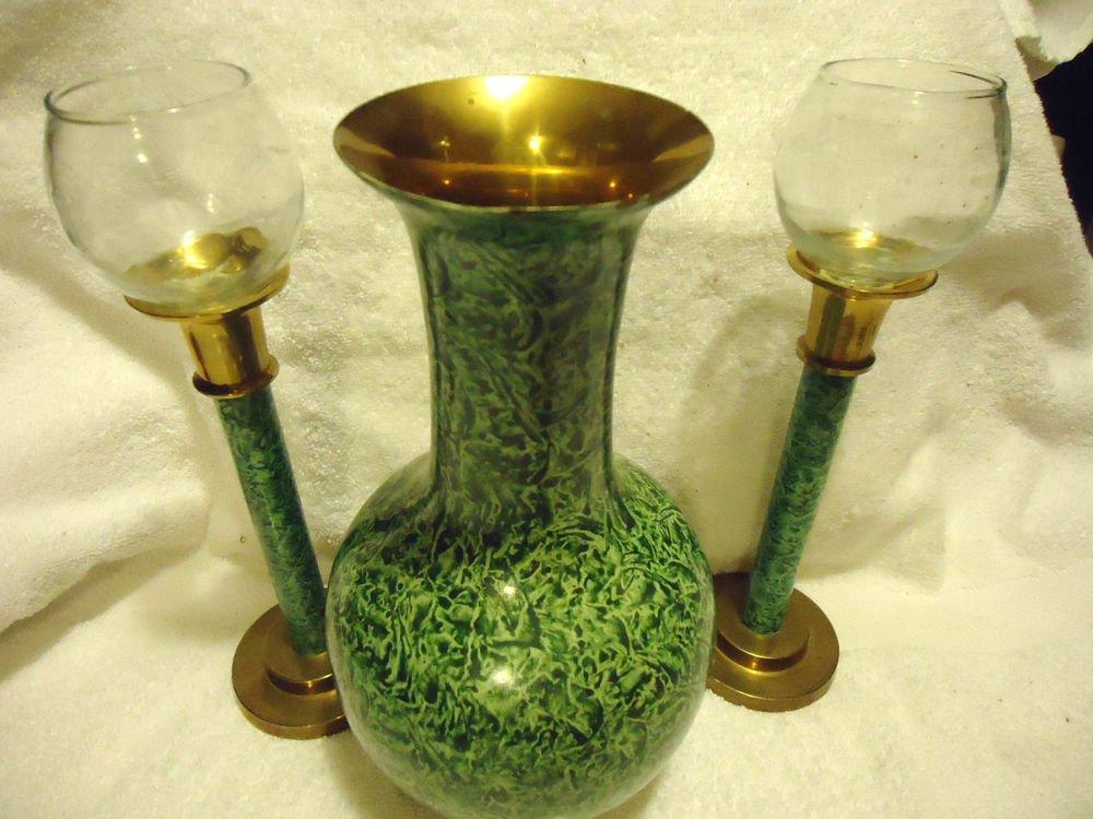 BEAUTIFUL LARGE GREEN PATTERNED CLOISONNE VASE & MATCHING CANDLESTICKS....