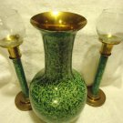 BEAUTIFUL LARGE GREEN PATTERNED CLOISONNE VASE & MATCHING CANDLESTICKS....