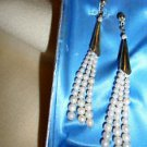 "3"" HANGING PEARL & GOLDTONE STYLISH EARRINGS....GREAT ACCENT.....UNIQUE"