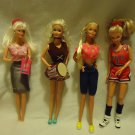 DOLLS/BARBIE, JOINTED-LOT OF FOUR- NICE MIXED VARIETY/ALL WITH CLOTHES & SHOESE